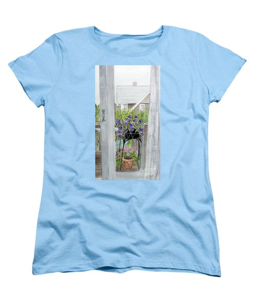 Women's T-Shirt (Standard Cut) featuring the painting Nantucket Room View by Carol Flagg