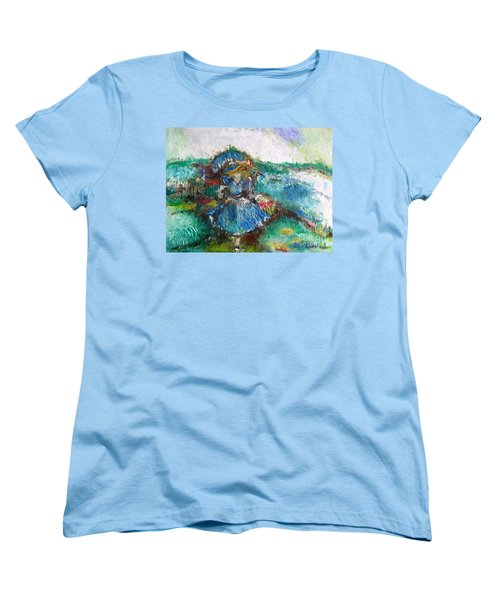Women's T-Shirt (Standard Cut) featuring the painting Roses For My Mother by Laurie L