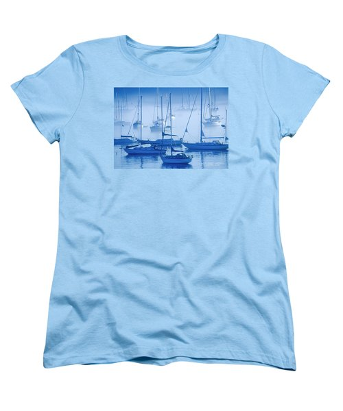 Women's T-Shirt (Standard Cut) featuring the photograph Sailboats In The Fog - Maine by David Perry Lawrence