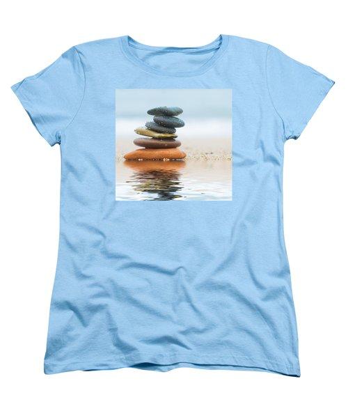 Stack Of Beach Stones On Sand Women's T-Shirt (Standard Cut) by Michal Bednarek