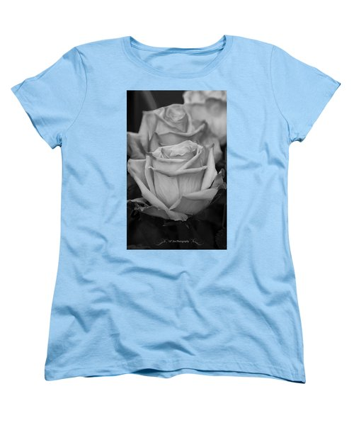 Tea Roses In Black And White Women's T-Shirt (Standard Cut) by Jeanette C Landstrom