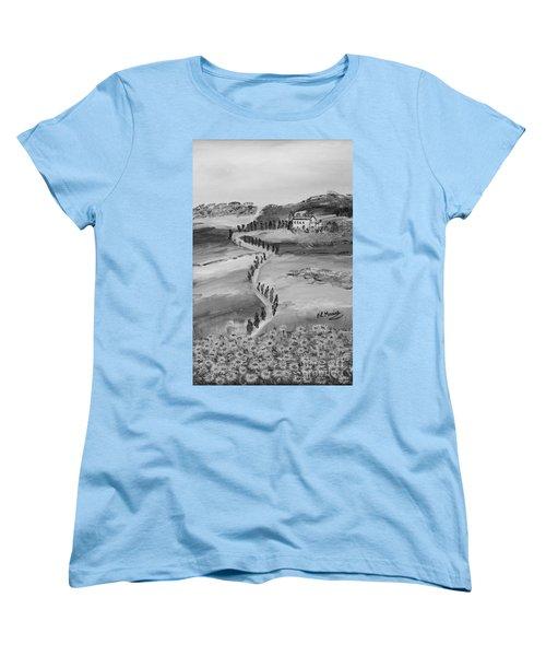 Women's T-Shirt (Standard Cut) featuring the painting Verde Sentiero by Loredana Messina