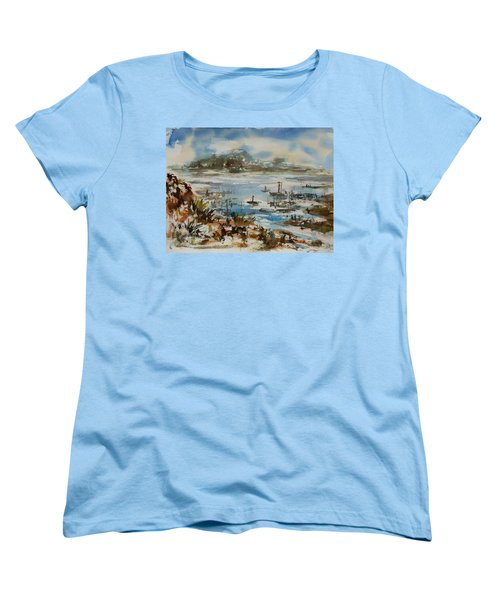Women's T-Shirt (Standard Cut) featuring the painting Bay Scene by Xueling Zou