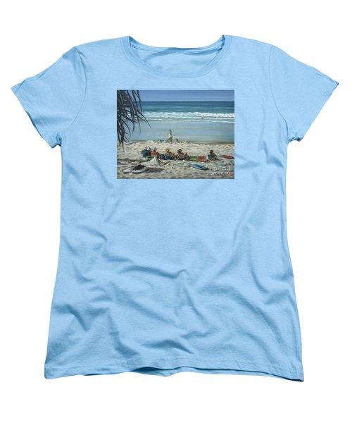 Women's T-Shirt (Standard Cut) featuring the painting Burleigh Beach 220909 by Selena Boron