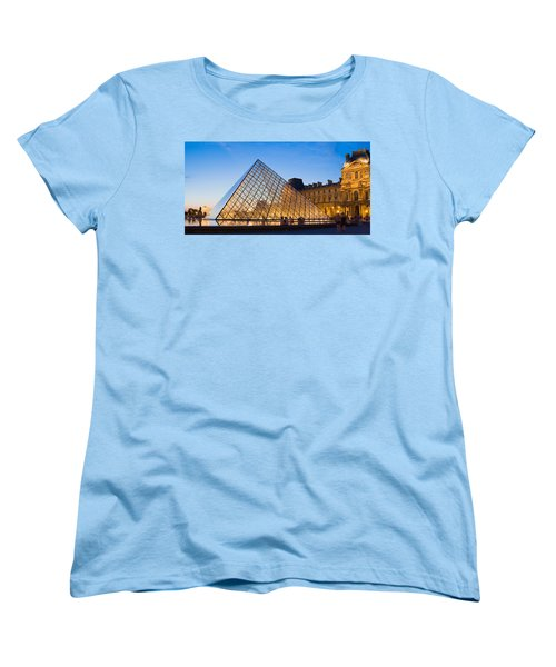 Pyramid In Front Of A Museum, Louvre Women's T-Shirt (Standard Cut) by Panoramic Images