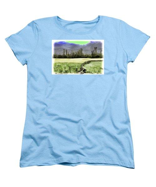 Mustard Fields In Kashmir Women's T-Shirt (Standard Cut) by Ashish Agarwal