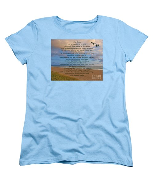 40- Wild Geese Mary Oliver Women's T-Shirt (Standard Cut) by Joseph Keane