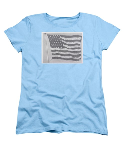 Women's T-Shirt (Standard Cut) featuring the pastel 50 Stars 13 Stripes by Wil Golden