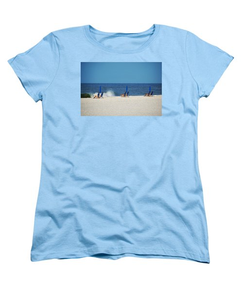 Women's T-Shirt (Standard Cut) featuring the digital art 6 Chairs And Umbrella by Michael Thomas