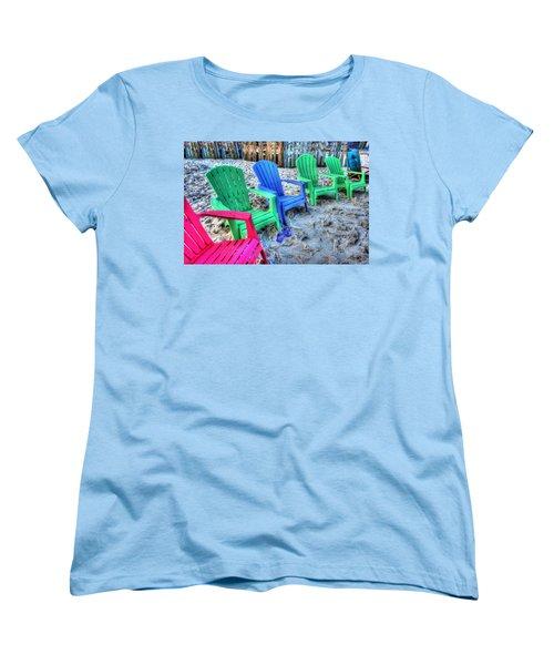 Women's T-Shirt (Standard Cut) featuring the digital art 6 Chairs by Michael Thomas