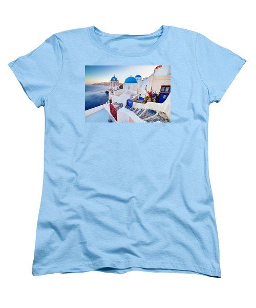Oia Town On Santorini Greece Women's T-Shirt (Standard Cut) by Michal Bednarek