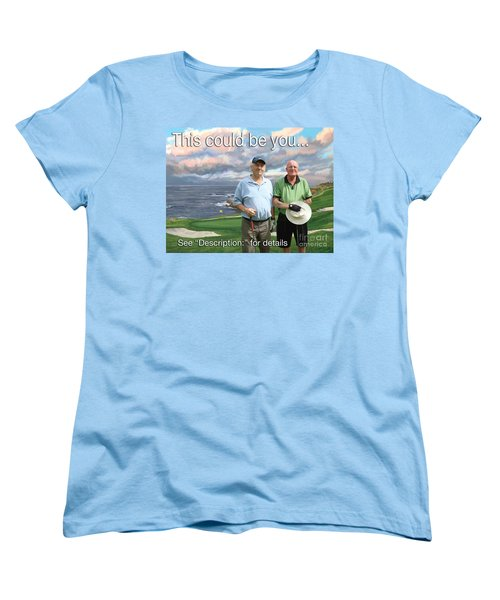 Women's T-Shirt (Standard Cut) featuring the painting 8th Hole Pebble Beach by Tim Gilliland