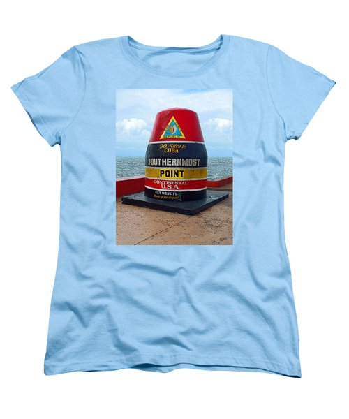 Southernmost Point Key West - 90 Miles To Cuba Women's T-Shirt (Standard Cut) by Rebecca Korpita