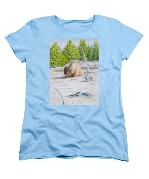 Women's T-Shirt (Standard Cut) featuring the painting A Buffalo Sits In Yellowstone by Michele Myers