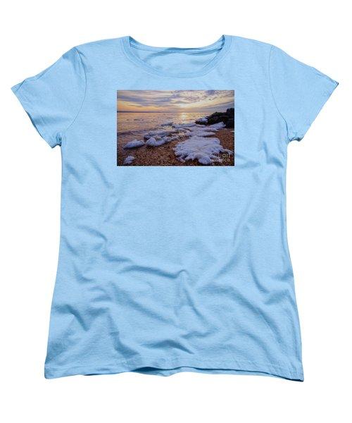 Women's T-Shirt (Standard Cut) featuring the photograph A Cold Sandy Hook Winter by Debra Fedchin
