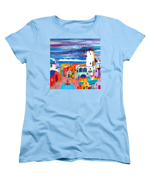 Women's T-Shirt (Standard Cut) featuring the painting A Greek Mill And The Colors Of Oia Santorini  by Roberto Gagliardi