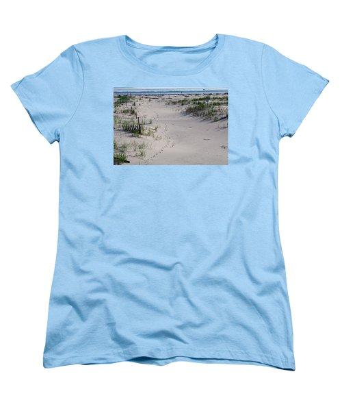 Women's T-Shirt (Standard Cut) featuring the photograph A Gull's Walk To The Ocean by Greg Graham