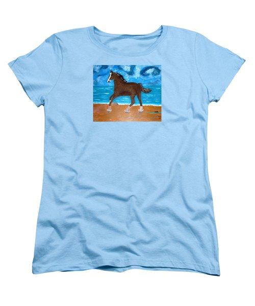 A Horse On The Beach Women's T-Shirt (Standard Cut) by Magdalena Frohnsdorff