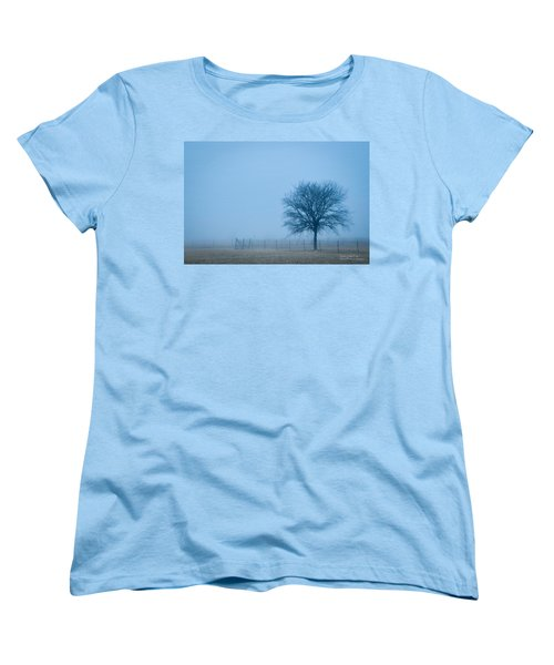 Women's T-Shirt (Standard Cut) featuring the photograph A Lone Tree In The Fog by David Perry Lawrence