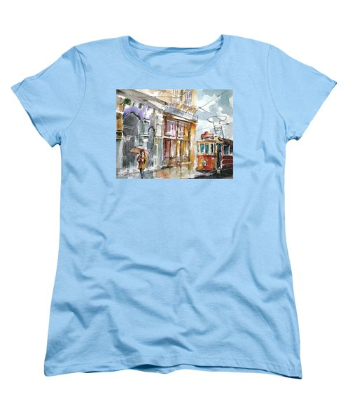 Women's T-Shirt (Standard Cut) featuring the painting A Rainy Day In Istanbul by Faruk Koksal