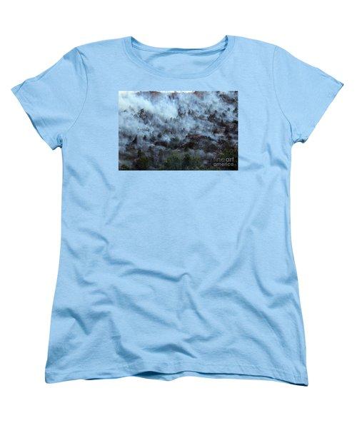 A Smoky Slope On White Draw Fire Women's T-Shirt (Standard Cut) by Bill Gabbert
