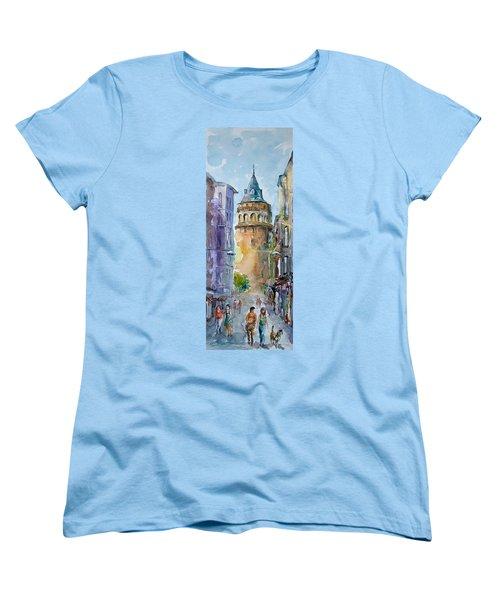 Women's T-Shirt (Standard Cut) featuring the painting A Walk Around Galata Tower - Istanbul by Faruk Koksal