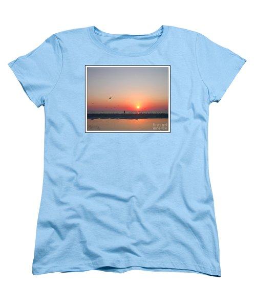 Women's T-Shirt (Standard Cut) featuring the photograph A Walk At Sunset by Mariarosa Rockefeller