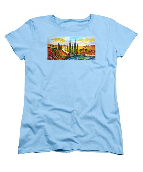 Women's T-Shirt (Standard Cut) featuring the painting A Warm Day Under The Tuscan Sun by Roberto Gagliardi
