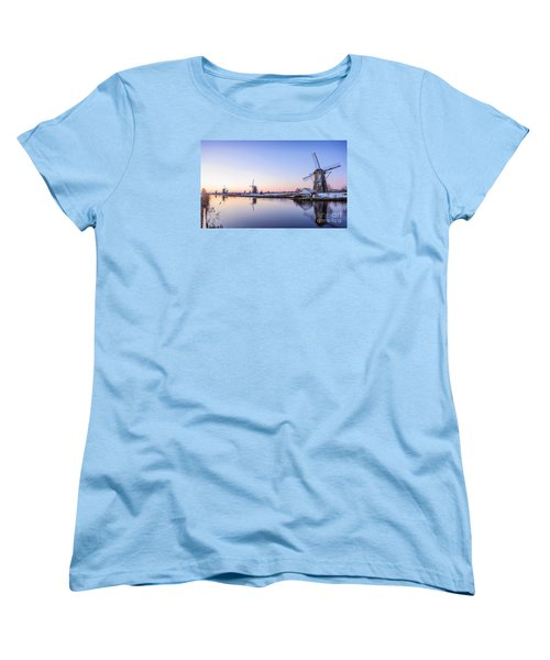 A Cold Winter Morning With Some Windmills In The Netherlands Women's T-Shirt (Standard Cut) by IPics Photography