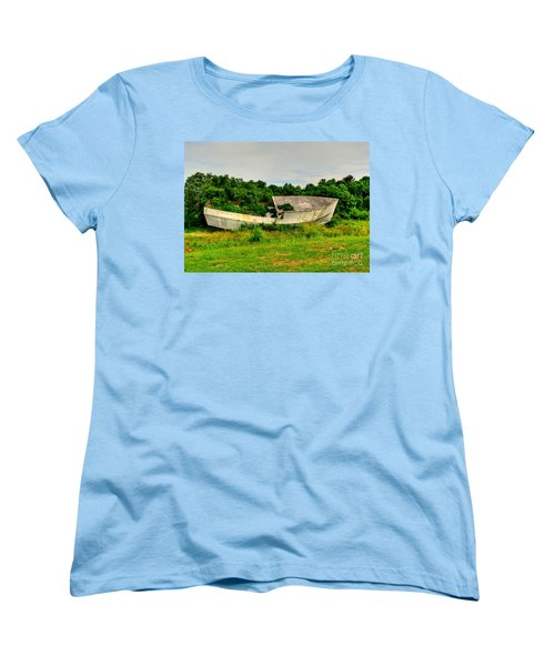 Women's T-Shirt (Standard Cut) featuring the photograph Abandoned Boat by Kathy Baccari