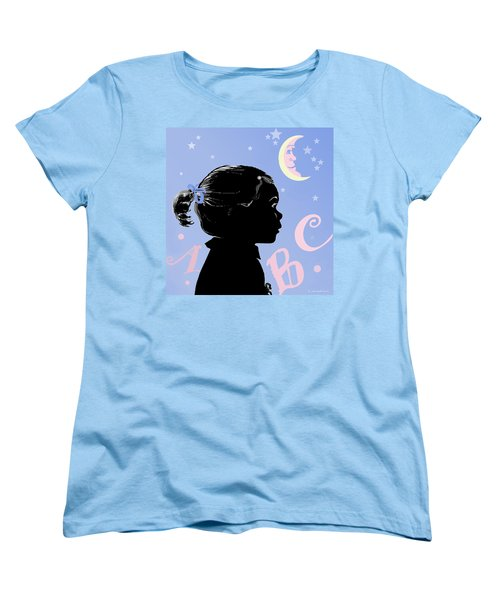 Women's T-Shirt (Standard Cut) featuring the painting Abc - The Moon And Me by Carol Jacobs