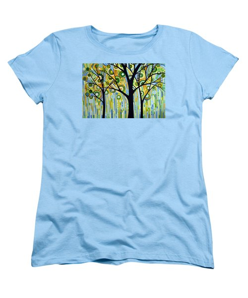 Women's T-Shirt (Standard Cut) featuring the painting Abstract Modern Tree Landscape Spring Rain By Amy Giacomelli by Amy Giacomelli