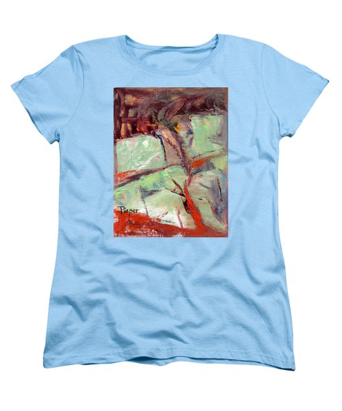 Abstract With Cadmium Red Women's T-Shirt (Standard Cut) by Betty Pieper