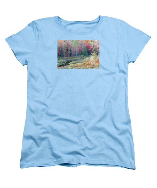Women's T-Shirt (Standard Cut) featuring the photograph Adirondack Fall by Mariarosa Rockefeller