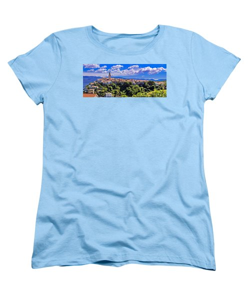 Adriatic Town Of Vrbnik Panoramic View Women's T-Shirt (Standard Cut) by Brch Photography