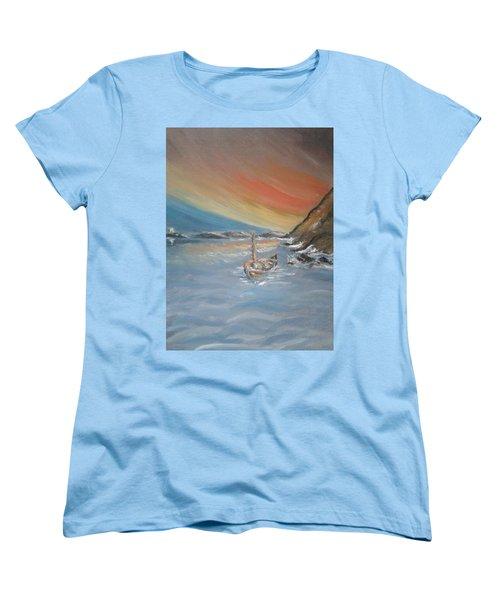 Women's T-Shirt (Standard Cut) featuring the painting Adrift by Teresa White