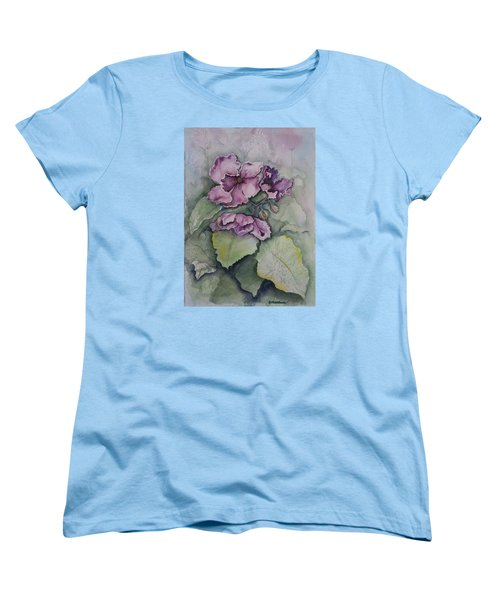 Women's T-Shirt (Standard Cut) featuring the painting African Violets by Rebecca Matthews