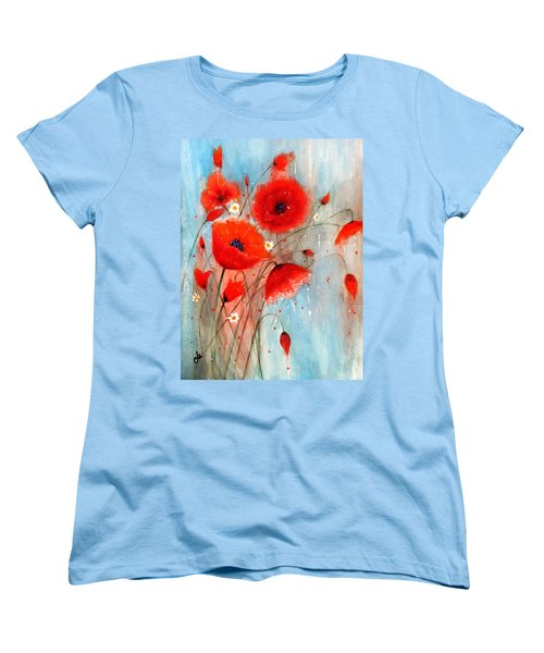 Women's T-Shirt (Standard Cut) featuring the painting After The Rain.. by Cristina Mihailescu