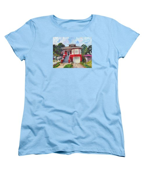 Colonial Revival High Basement Cottage 1907  Women's T-Shirt (Standard Cut) by Linda Weinstock