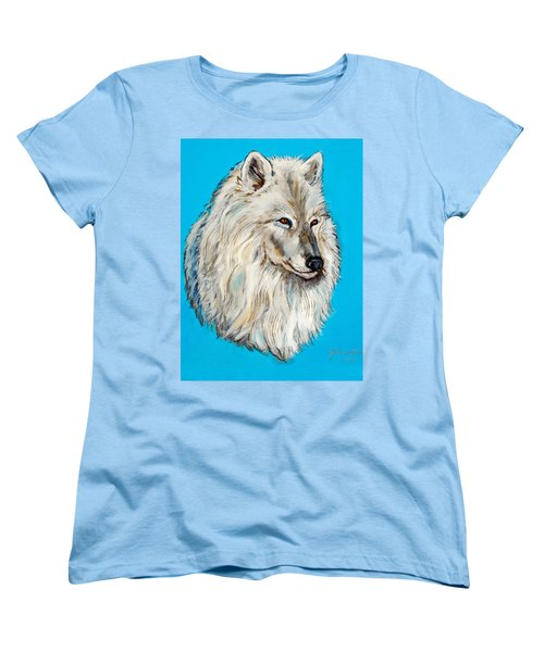Women's T-Shirt (Standard Cut) featuring the painting Alaska White Wolf by Bob and Nadine Johnston