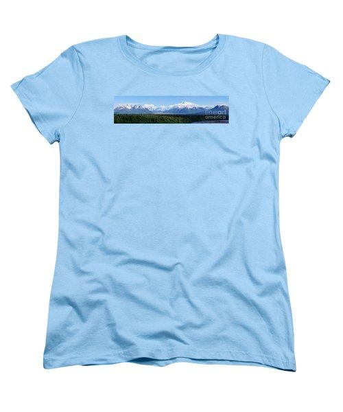 Alaskan Denali Mountain Range Women's T-Shirt (Standard Cut) by Jennifer White