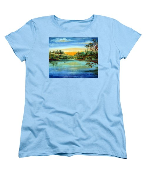 Women's T-Shirt (Standard Cut) featuring the painting Alba Sul Lago by Roberto Gagliardi
