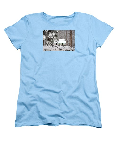 Women's T-Shirt (Standard Cut) featuring the photograph Alfred Reagan's Home In Snow by Debbie Green