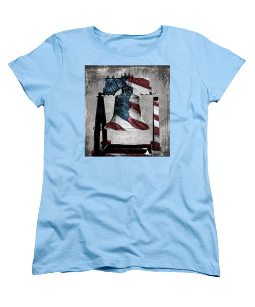 All American Liberty Bell Art_denim Women's T-Shirt (Standard Cut)