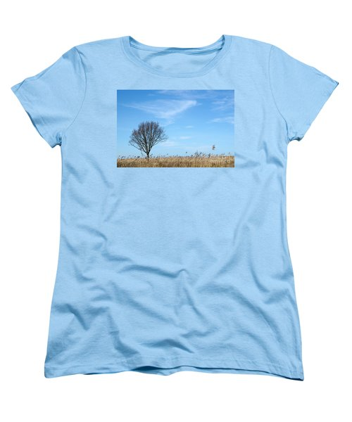 Women's T-Shirt (Standard Cut) featuring the photograph Alone Tree In The Reeds by Kennerth and Birgitta Kullman