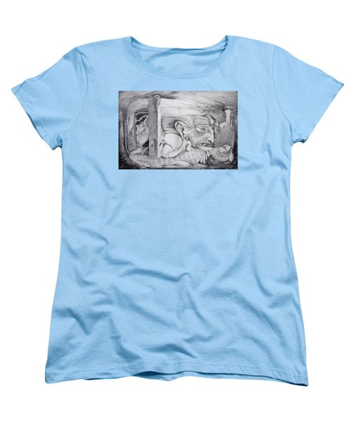 Women's T-Shirt (Standard Cut) featuring the drawing Alpha And Omega - The Reconstruction Of Bogomils Universe by Otto Rapp
