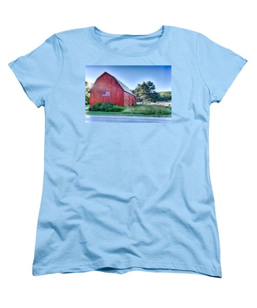 Women's T-Shirt (Standard Cut) featuring the photograph American Barn by Sebastian Musial