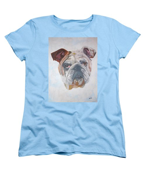 Women's T-Shirt (Standard Cut) featuring the painting American Bulldog Pet Portrait by Tracey Harrington-Simpson