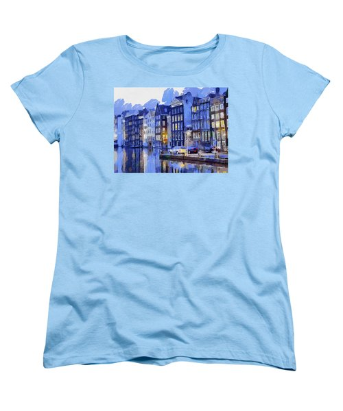 Women's T-Shirt (Standard Cut) featuring the painting Amsterdam With Blue Colors by Georgi Dimitrov