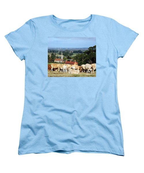 An English Summer Landscape Women's T-Shirt (Standard Cut) by Linsey Williams
